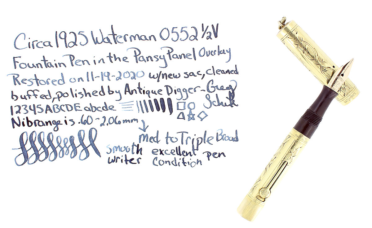 C1925 WATERMAN 18K GOLD FILLED PANSY PANEL 0552 1/2V FOUNTAIN PEN RESTORED OFFERED BY ANTIQUE DIGGER