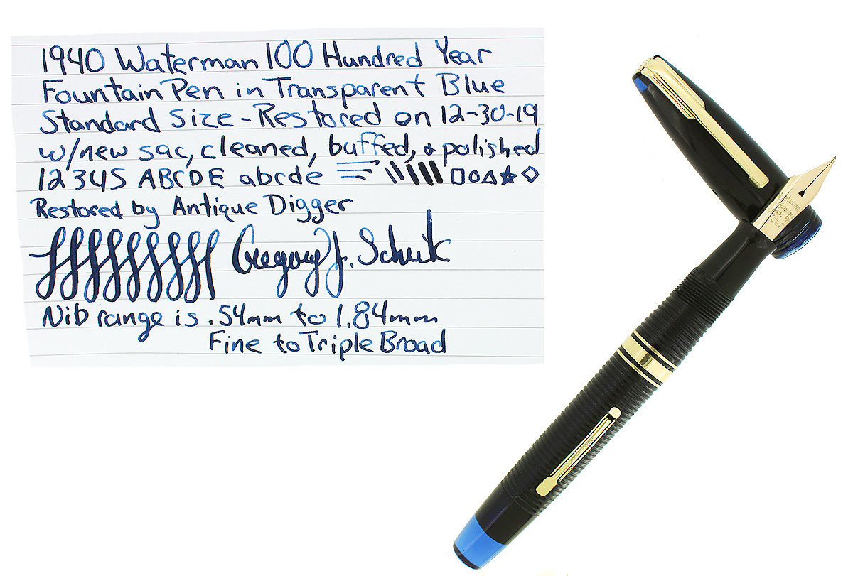 1940 TRANSPARENT BLUE WATERMAN 100 YEAR FOUNTAIN PEN F-BBB FLEX NIB RESTORED OFFERED BY ANTIQUE DIGGER