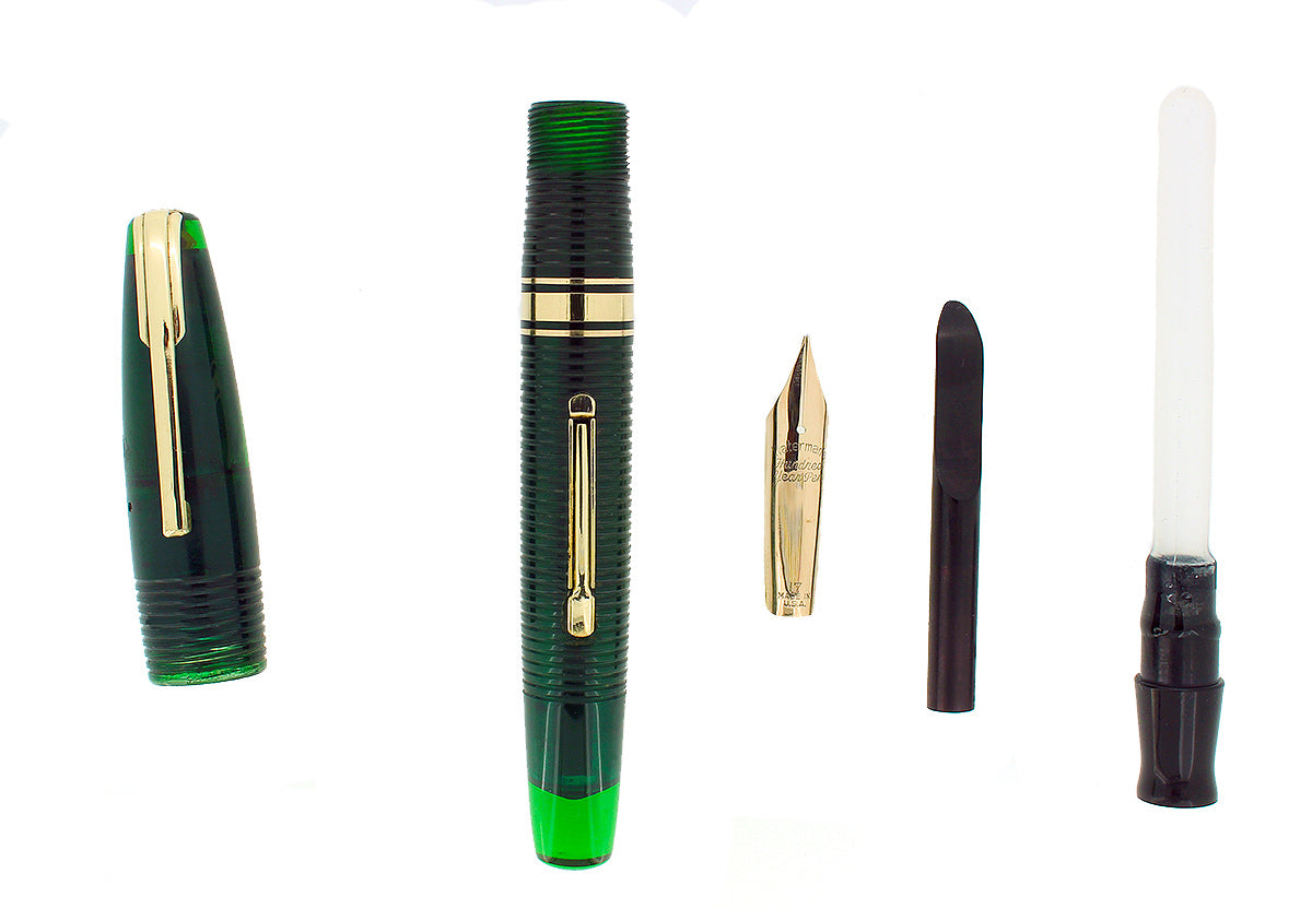 1940 TRANSPARENT GREEN WATERMAN 100 HUNDRED YEAR FOUNTAIN PEN M-BBB+ FLEX NIB RESTORED OFFERED BY ANTIQUE DIGGER