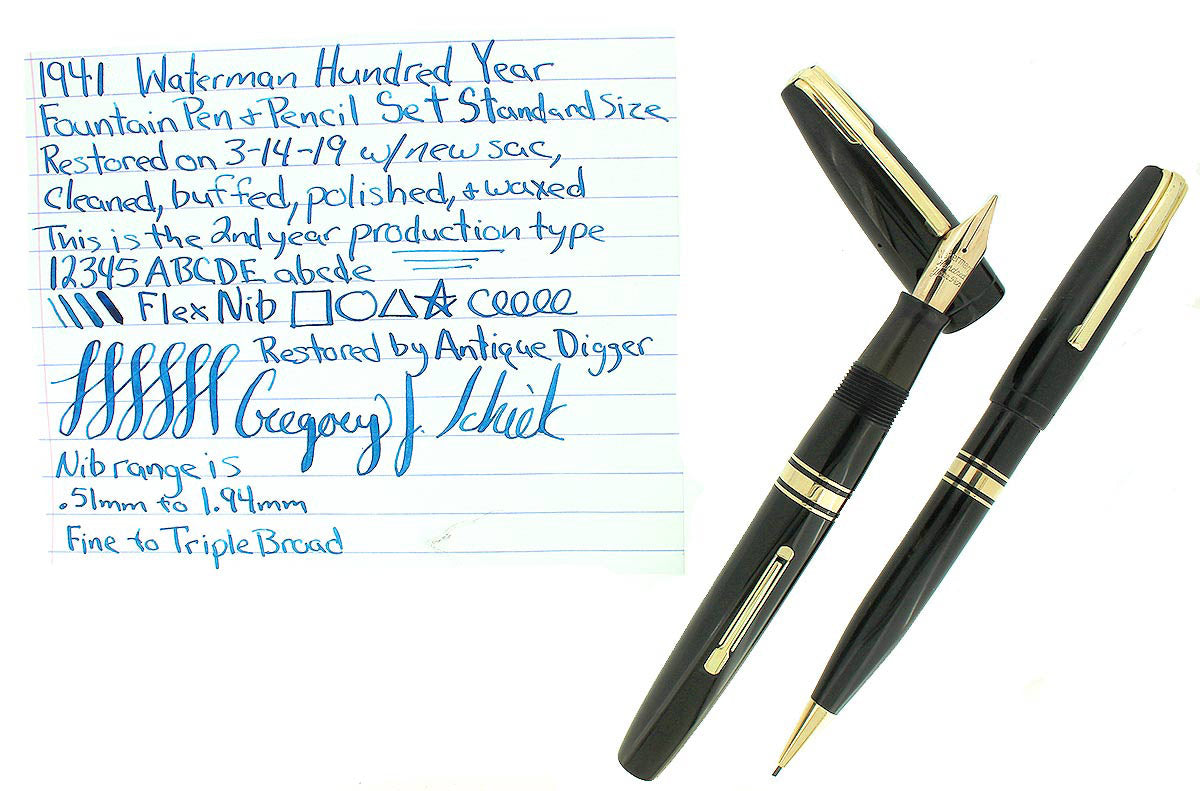 1941 WATERMAN JET BLACK 100 YEAR STANDARD SIZE FOUNTAIN PEN & PENCIL F-BBB NIB RESTORED OFFERED BY ANTIQUE DIGGER