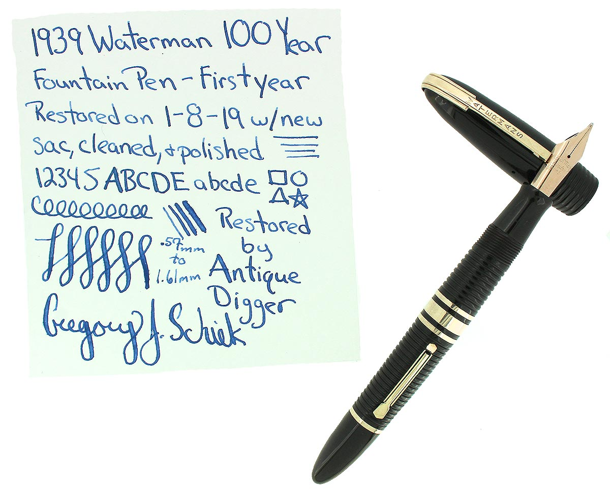 1939 FIRST YEAR WATERMAN 100 YEAR FOUNTAIN PEN F-BB SEMI-FLEX NIB RESTORED OFFERED BY ANTIQUE DIGGER