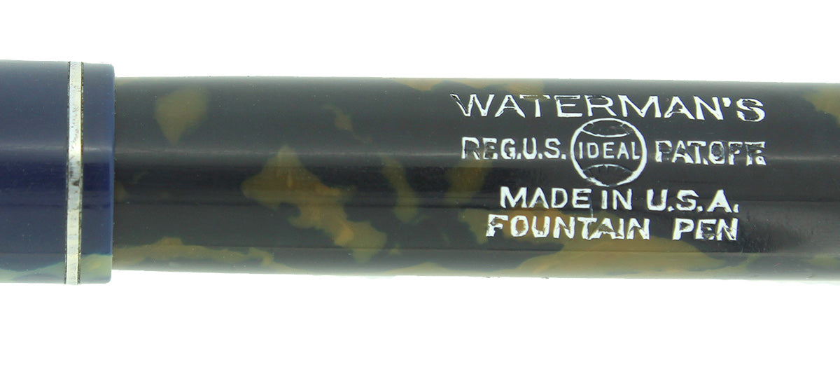 1930s WATERMAN 32 FULL-SIZE BLUE & CREAM CELLULOID FOUNTAIN PEN F-BB+ FLEX NIB RESTORED OFFERED BY ANTIQUE DIGGER