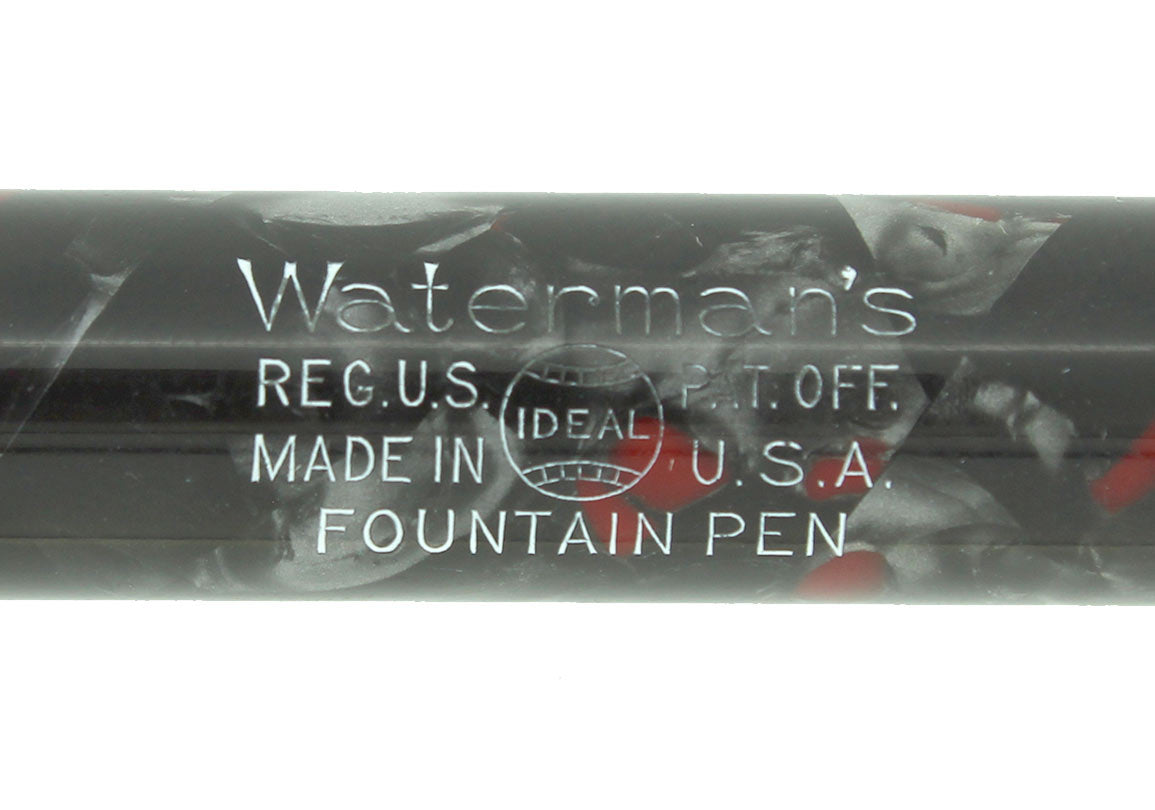 WATERMAN 3 GREY PEARL CELLULOID FOUNTAIN PEN XF-BBB FLEX NIB RESTORED OFFERED BY ANTIQUE DIGGER