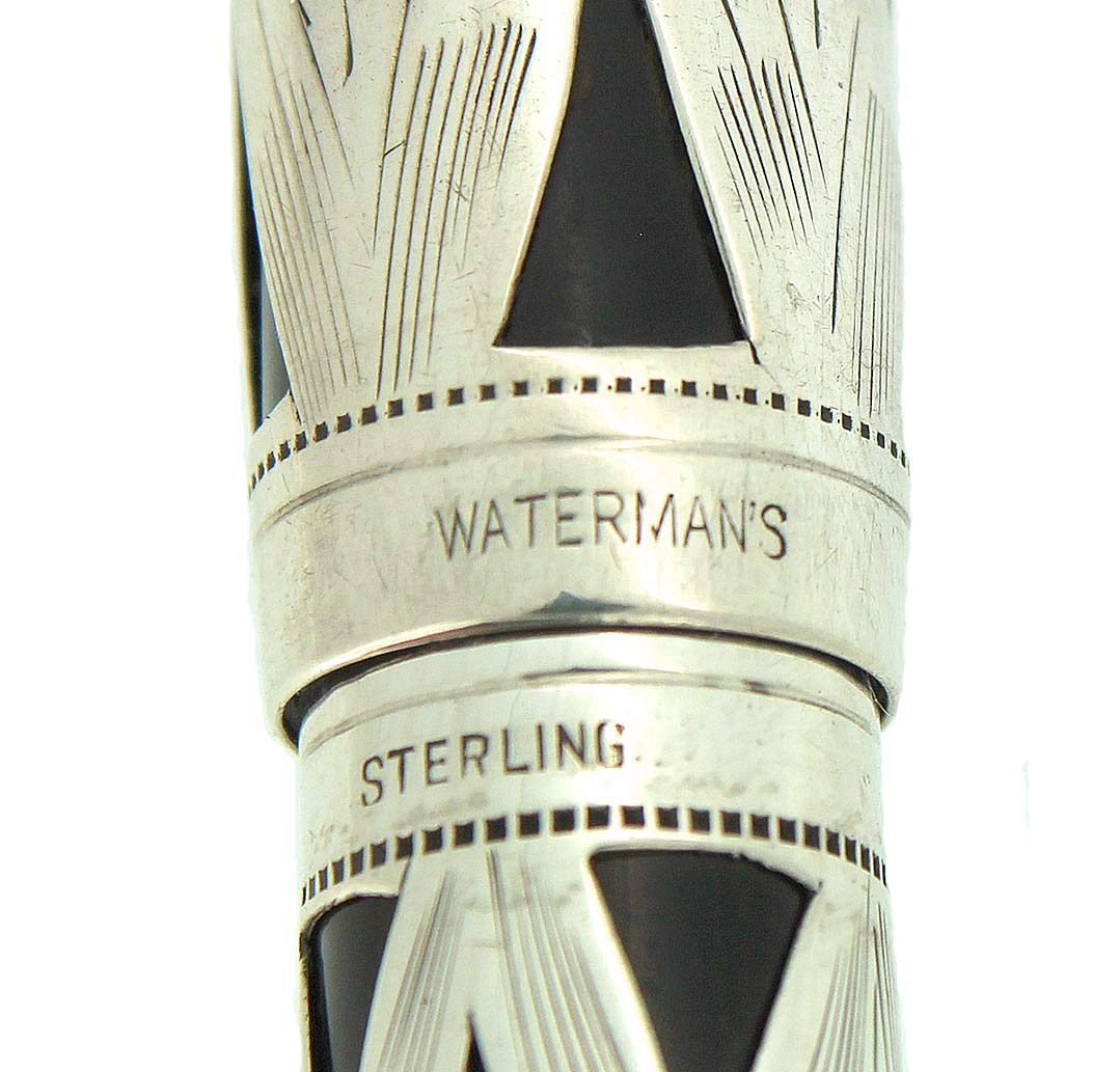 1939 WATERMAN 403 STERLING BASKETWEAVE FOUNTAIN PEN F - BBB FLEX NIB RESTORED OFFERED BY ANTIQUE DIGGER