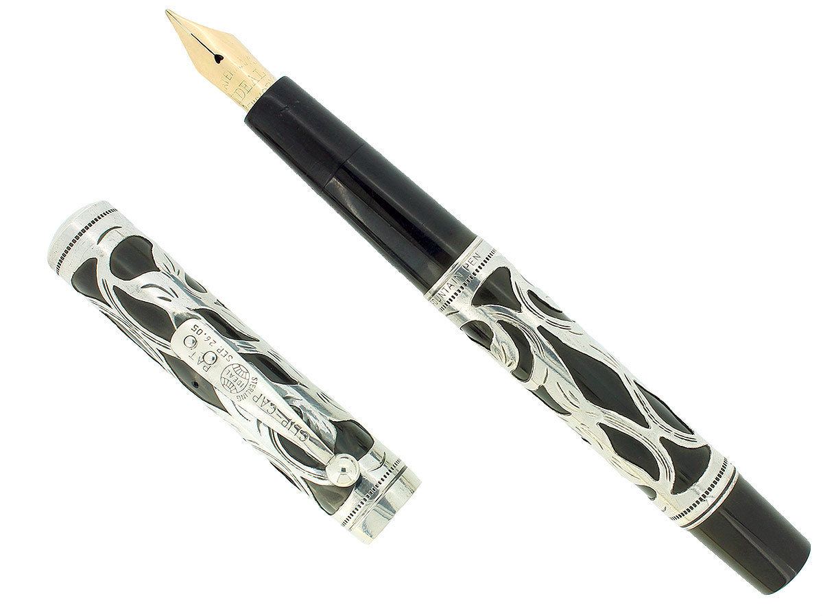 C1910 WATERMAN 416 STERLING ART NOUVEAU OVERLAY PATTERN FOUNTAIN PEN RESTORED OFFERED BY ANTIQUE DIGGER