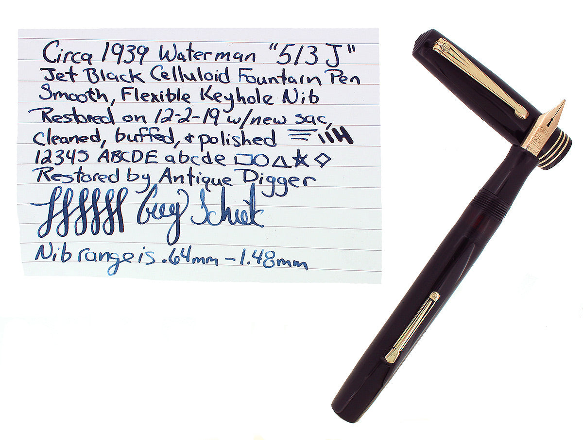 C1939 WATERMAN 513J BLACK CELLULOID 14K KEYHOLE M-BB NIB FOUNTAIN PEN RESTORED OFFERED BY ANTIQUE DIGGER