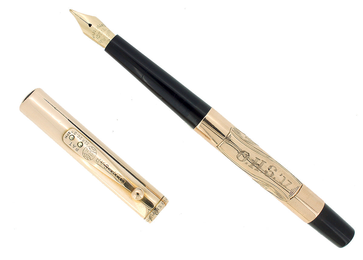 1917 WATERMAN 514 SMOOTH SOLID 14K GOLD OVERLAY STUB NIB FOUNTAIN PEN RESTORED OFFERED BY ANTIQUE DIGGER