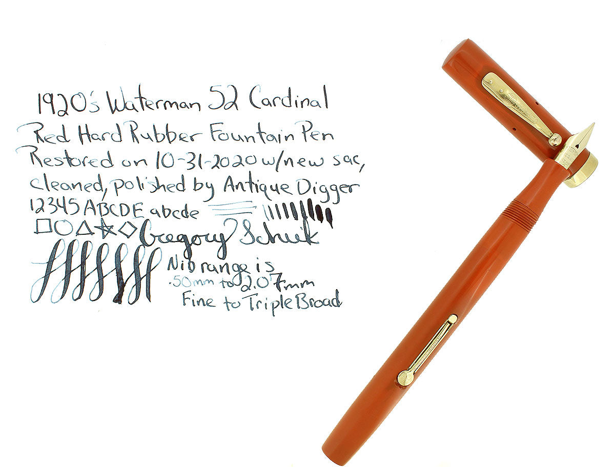 C1925 WATERMAN #52 CARDINAL RED HARD RUBBER FOUNTAIN PEN F-BBB FLEX NIB RESTORED OFFERED BY ANTIQUE DIGGER