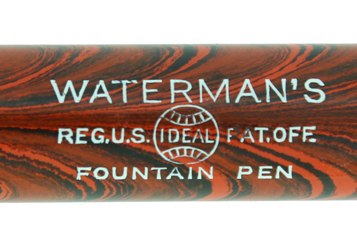 1920S WATERMAN 52 RED RIPPLE FOUNTAIN PEN XF TO BBB+ FLEXIBLE NIB RESTORED OFFERED BY ANTIQUE DIGGER