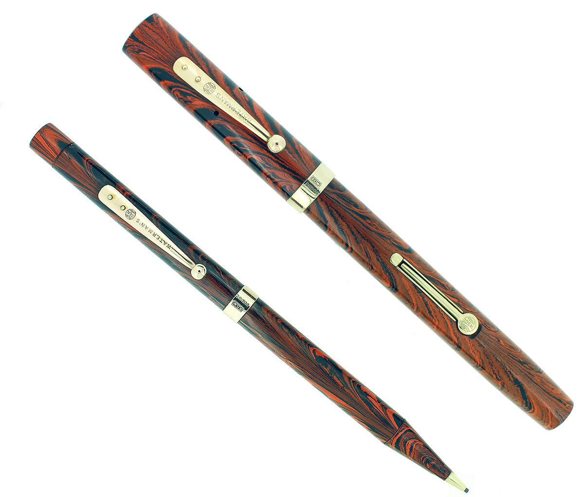 1920S WATERMAN RED RIPPLE 52 FOUNTAIN PEN AND PENCIL SET 9CT GOLD BANDS RESTORED OFFERED BY ANTIQUE DIGGER