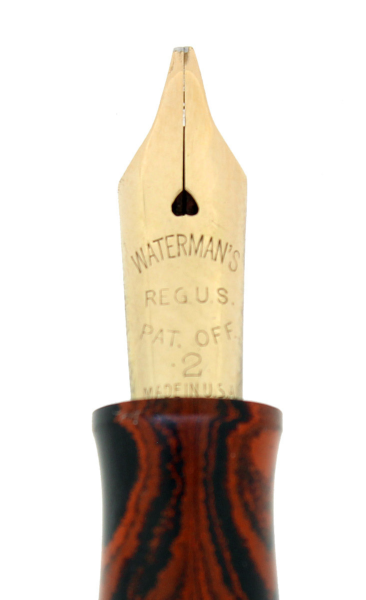 1920S WATERMAN #52 RED RIPPLE FOUNTAIN PEN SIGNATURE STUB NIB RESTORED NEAR MINT OFFERED BY ANTIQUE DIGGER