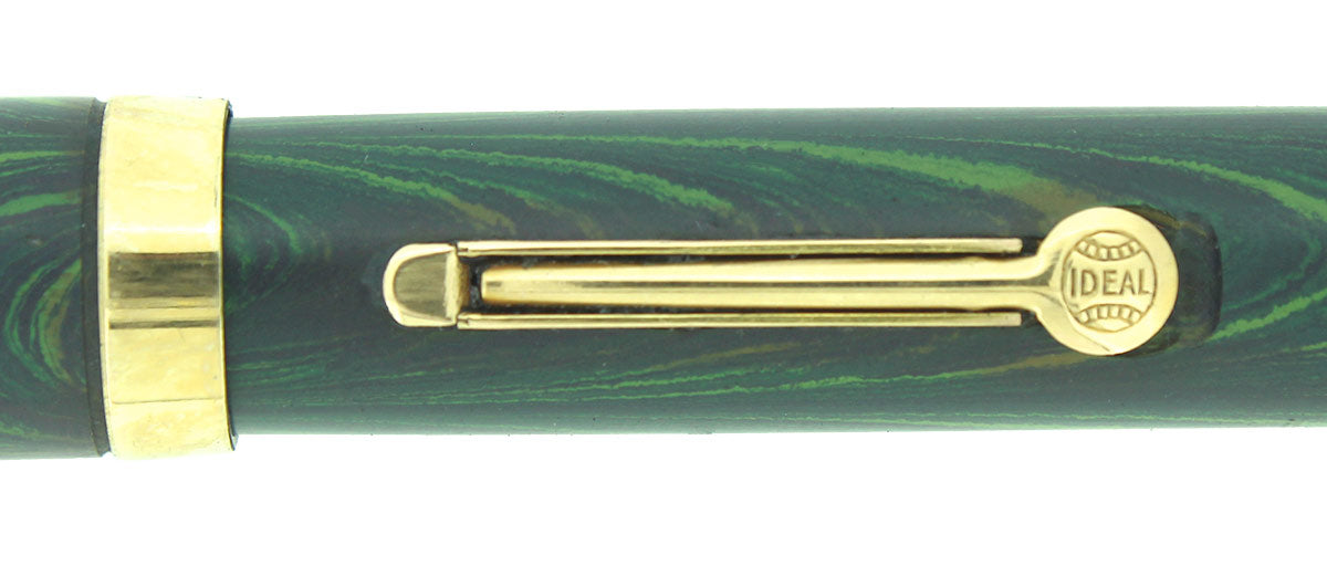 1920S WATERMAN 52V BLUE-GREEN RIPPLE F-BBB 2.16MM FLEX NIB FOUNTAIN PEN RESTORED OFFERED BY ANTIQUE DIGGER