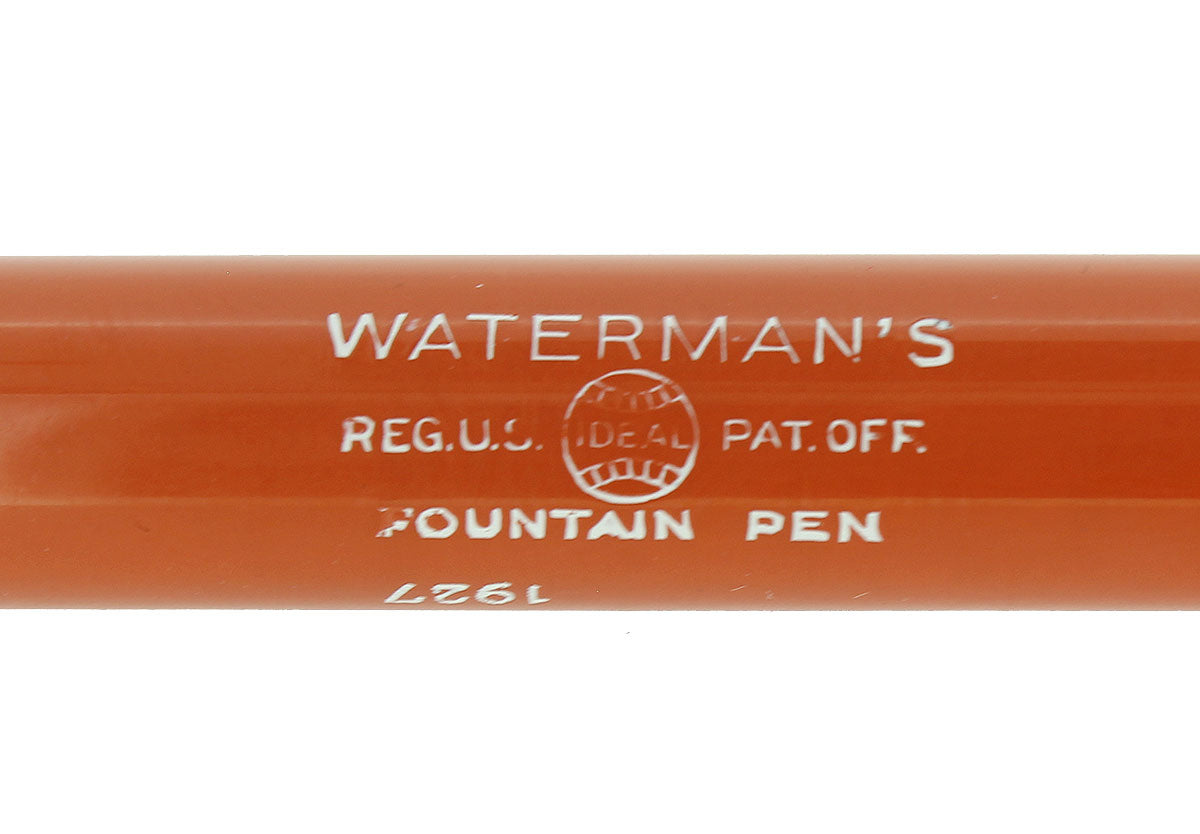 CIRCA 1927 WATERMAN 54 CARDINAL RED HARD RUBBER FOUNTAIN PEN BARREL OFFERED BY ANTIQUE DIGGER