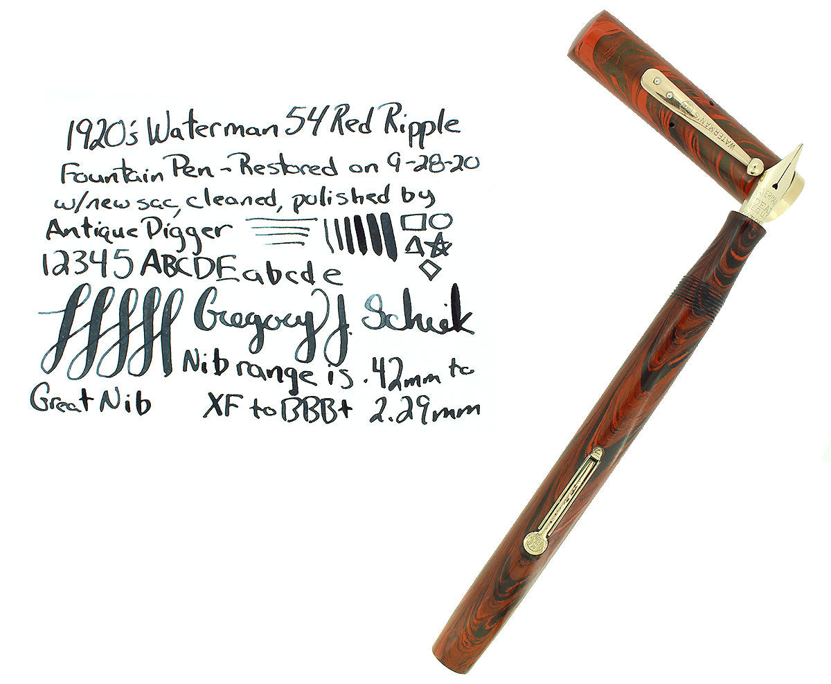 1920S WATERMAN #54 RED RIPPLE FOUNTAIN PEN XF-BBB FLEX NIB RESTORED OFFERED BY ANTIQUE DIGGER