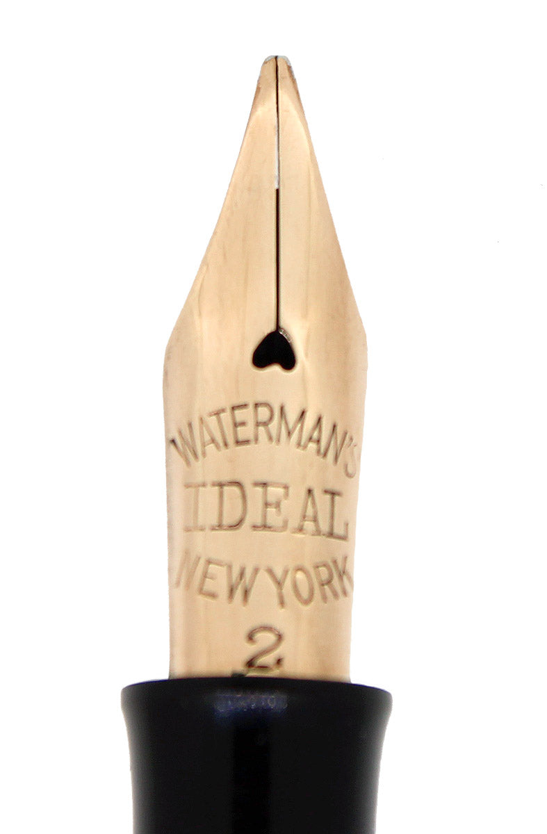 C1923 WATERMAN 552 1/2 SMOOTH SOLID 14K GOLD OVERLAY FOUNTAIN PEN RESTORED OFFERED BY ANTIQUE DIGGER
