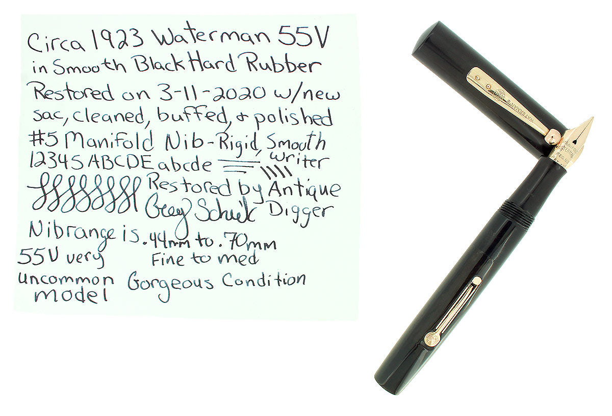 CIRCA 1923 WATERMAN UNCOMMON #55V BLACK SMOOTH HARD RUBBER FOUNTAIN PEN RESTORED OFFERED BY ANTIQUE DIGGER