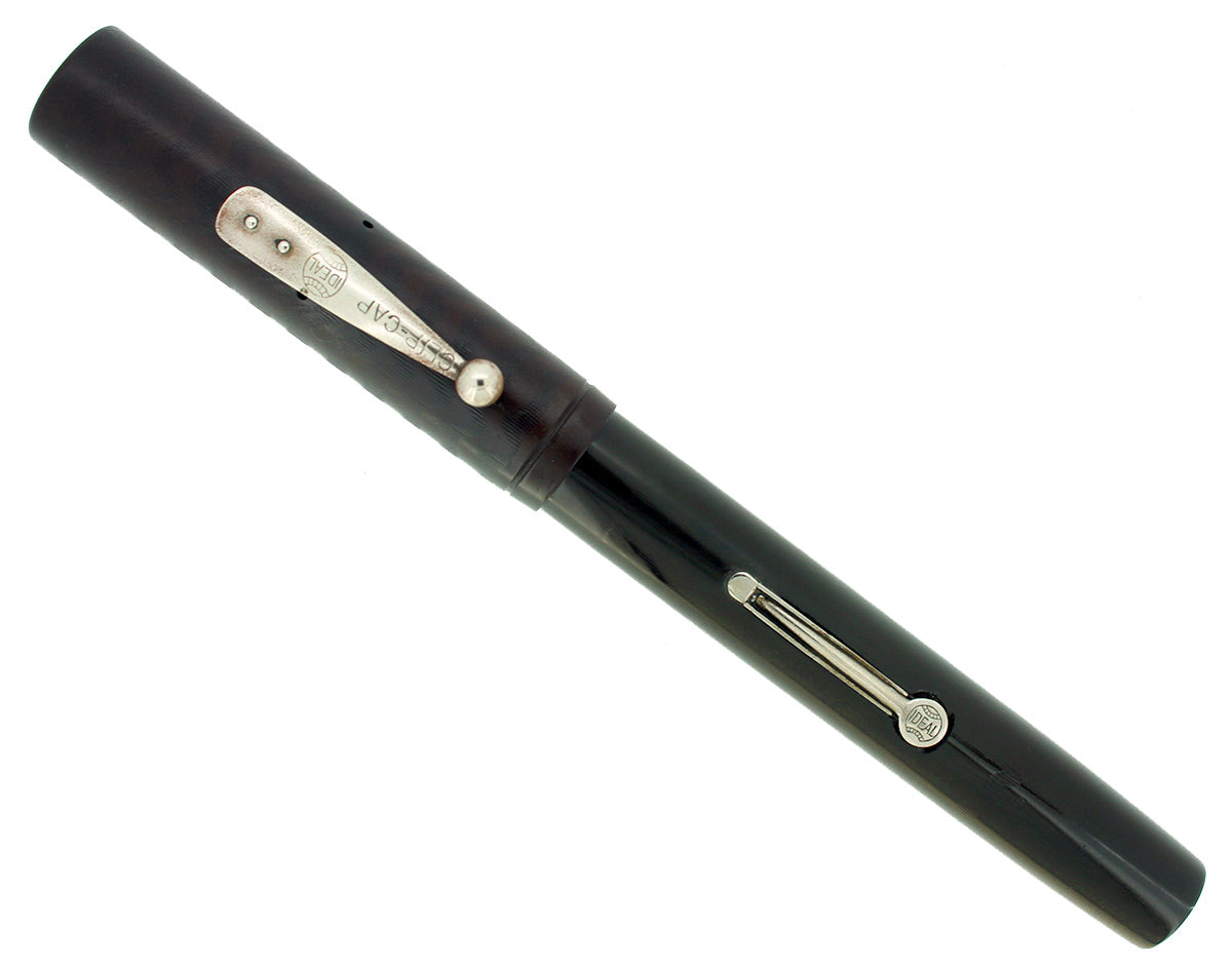 1920S WATERMAN #56 BLACK CHASED HARD RUBBER FOUNTAIN PEN 14K FLEX NIB M-BBB RESTORED OFFERED BY ANTIQUE DIGGER