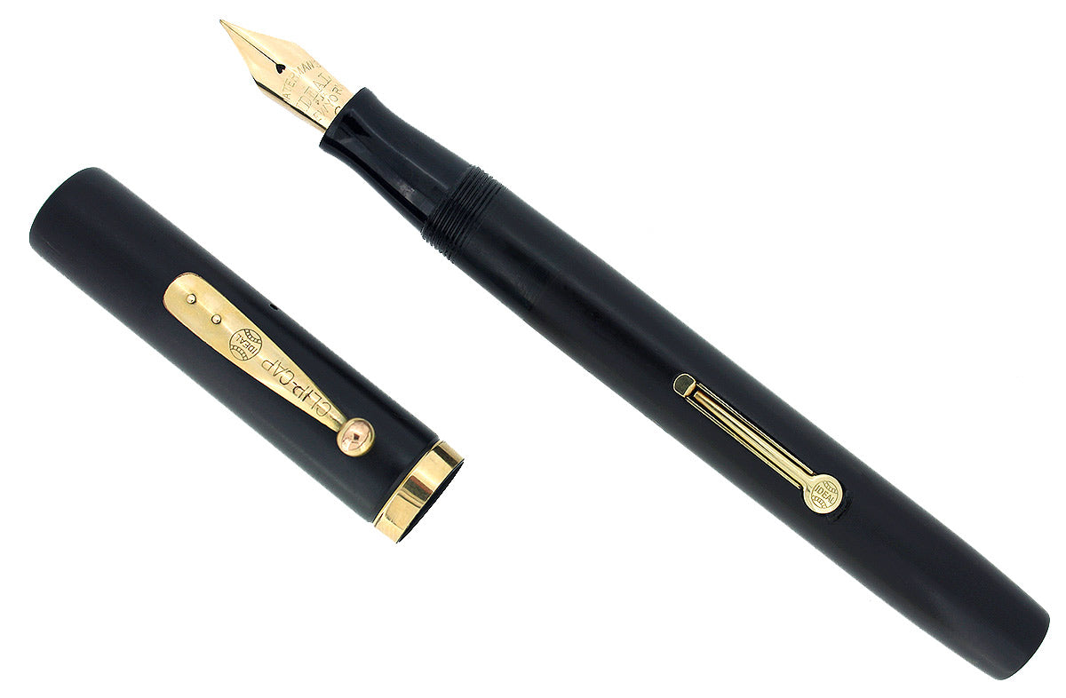 1920S WATERMAN #56 HARD RUBBER FOUNTAIN PEN W/FLEXIBLE 14K NIB M-BBB RESTORED OFFERED BY ANTIQUE DIGGER