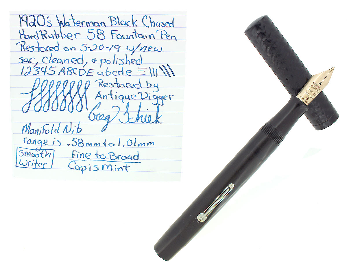 1920s WATERMAN 58 BLACK CHASED HARD RUBBER FOUNTAIN PEN MANIFOLD NIB RESTORED OFFERED BY ANTIQUE DIGGER