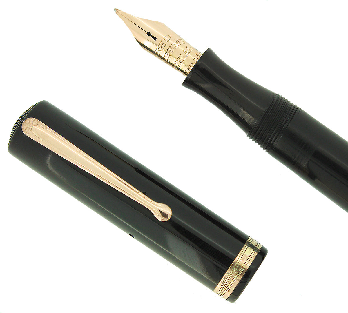 1930 WATERMAN #5 BLACK CELLULOID RED KEYHOLE F-BB NIB FOUNTAIN PEN RESTORED OFFERED BY ANTIQUE DIGGER