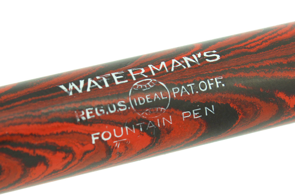 1920s WATERMAN #7 RED RIPPLE PINK KEYHOLE NIB F-BBB+ FLEX FOUNTAIN PEN RESTORED OFFERED BY ANTIQUE DIGGER