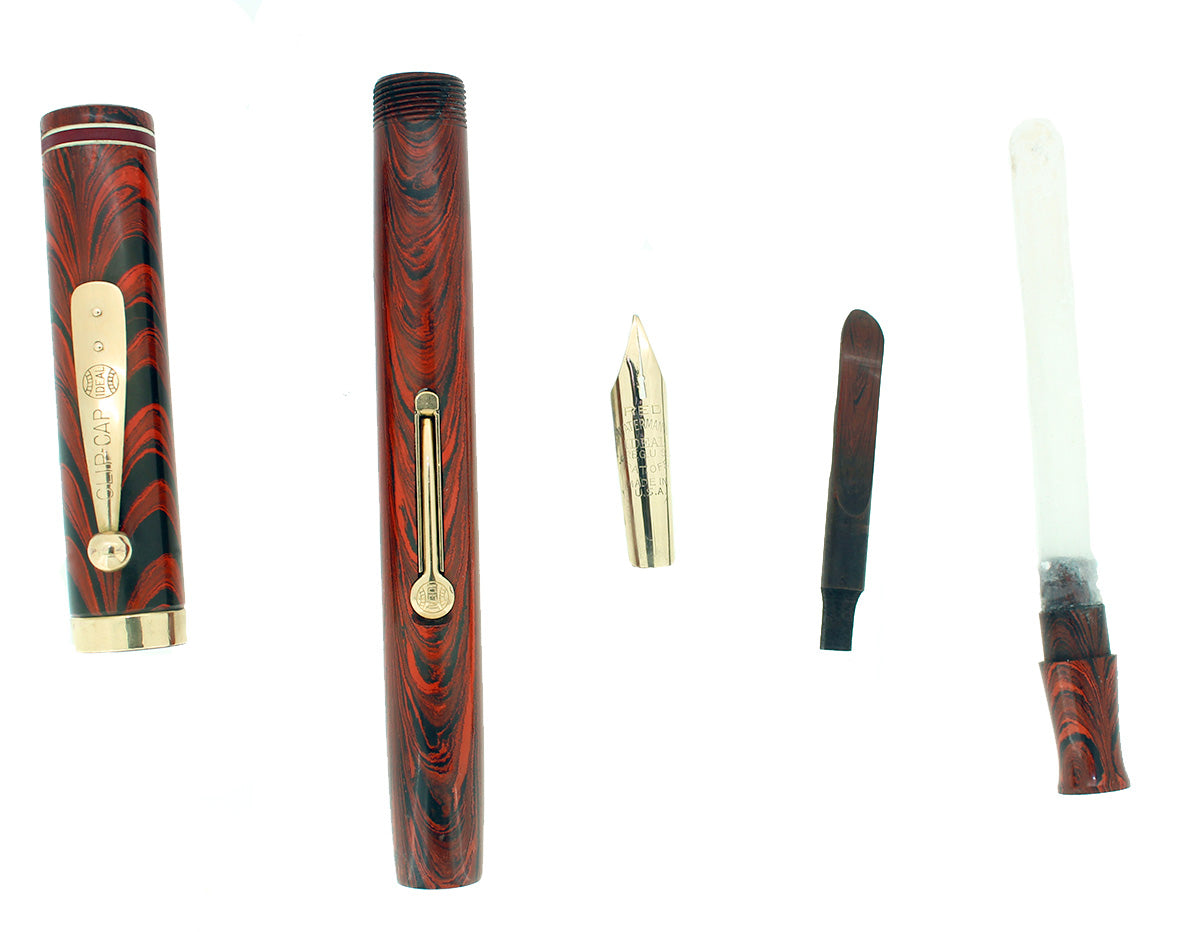 C1927 WATERMAN RED RIPPLE #7 RED CAP BAND & KEYHOLE NIB FOUNTAIN PEN RESTORED OFFERED BY ANTIQUE DIGGER