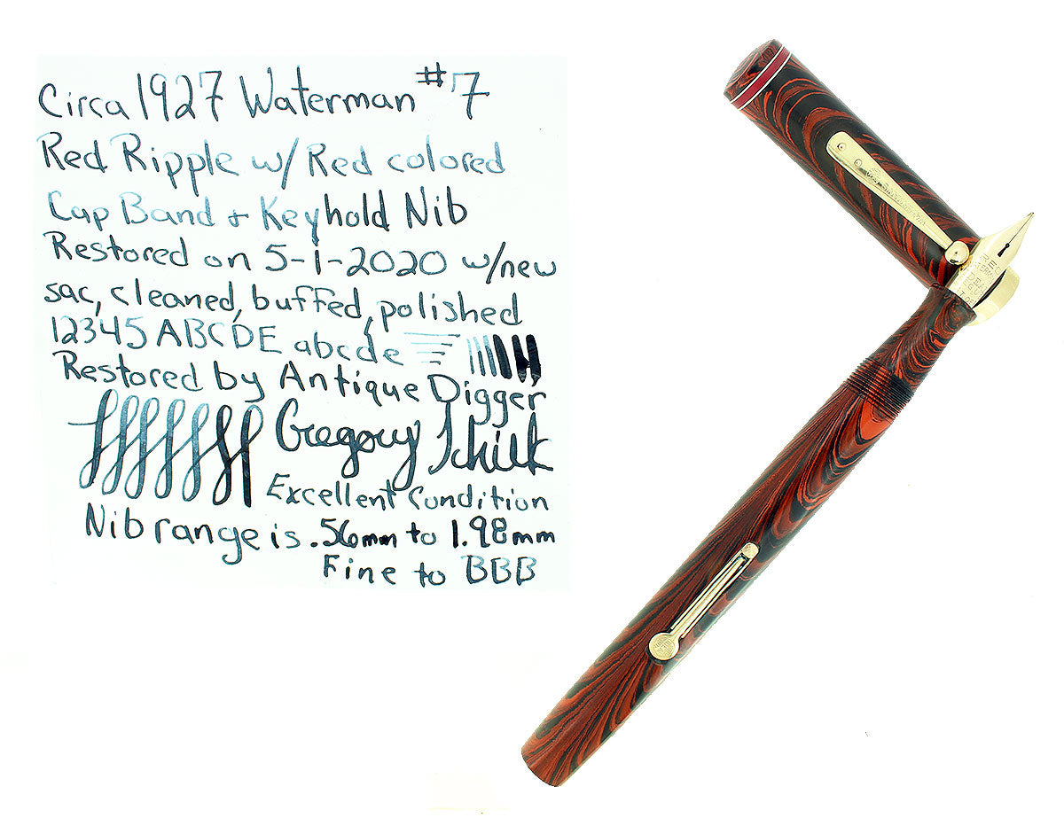 CIRCA 1927 WATERMAN RED RIPPLE #7 RED KEYHOLE NIB CAP BAND FOUNTAIN PEN RESTORED OFFERED BY ANTIQUE DIGGER