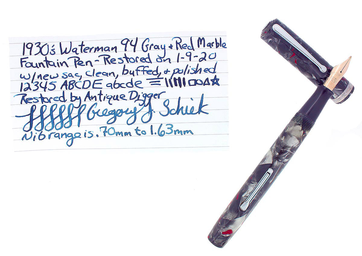 CIRCA 1930S WATERMAN 94 GRAY & RED MARBLED FOUNTAIN PEN F-BB FLEX NIB RESTORED OFFERED BY ANTIQUE DIGGER