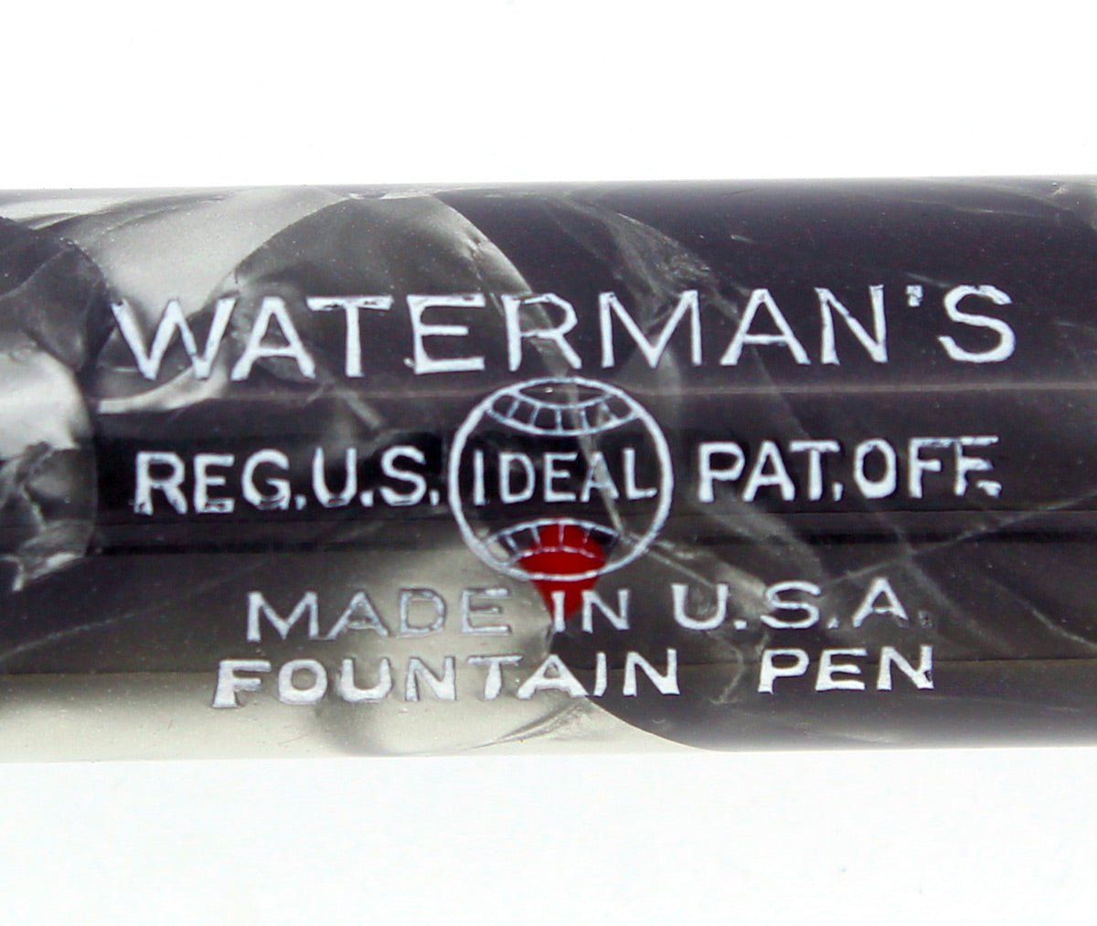 EARLY 1930S WATERMAN 94 GRAY & RED MARBLED FOUNTAIN PEN F-BB FLEX NIB RESTORED OFFERED BY ANTIQUE DIGGER