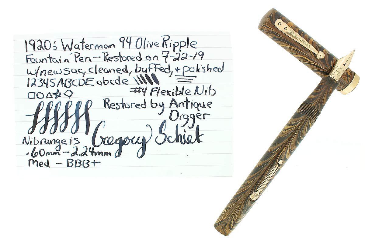 1920s WATERMAN 94 OLIVE RIPPLE M-BBB 2.24MM FLEX NIB FOUNTAIN PEN RESTORED OFFERED BY ANTIQUE DIGGER