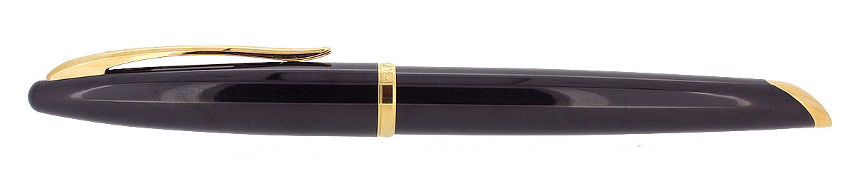 WATERMAN CARENE FOUNTAIN PEN JET BLACK WITH GOLD PLATED TRIM 18K MEDIUM NIB MINT IN BOX OFFERED BY ANTIQUE DIGGER