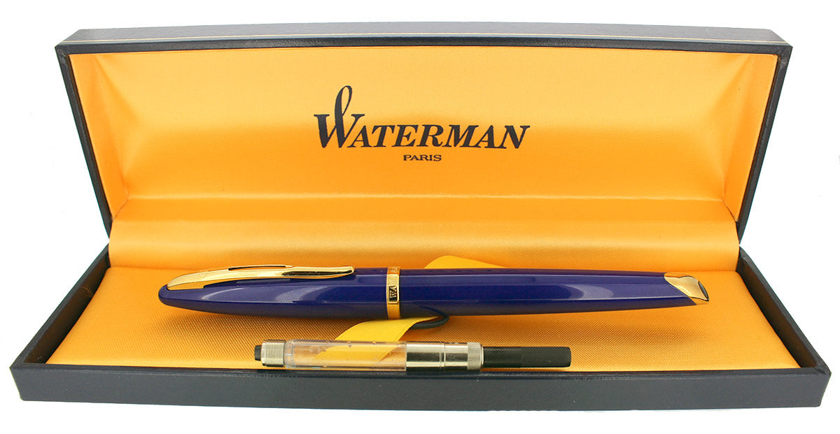 WATERMAN CARENE ABYSS BLUE FOUNTAIN PEN WITH GOLD PLATED TRIM 18K MEDIUM NIB MINT IN BOX OFFERED BY ANTIQUE DIGGER