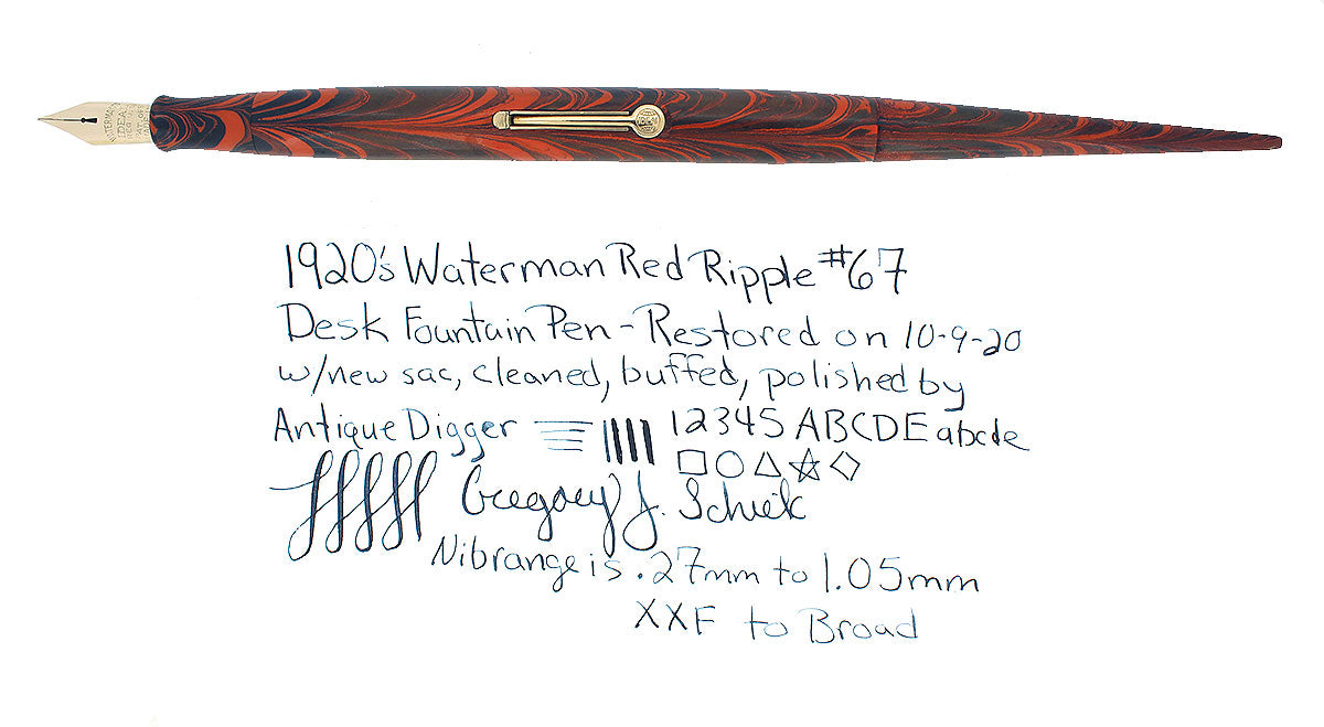 1920S WATERMAN #67 RED RIPPLE DESK PEN FOUNTAIN PEN XXF-B NIB RESTORED EXCELLENT OFFERED BY ANTIQUE DIGGER