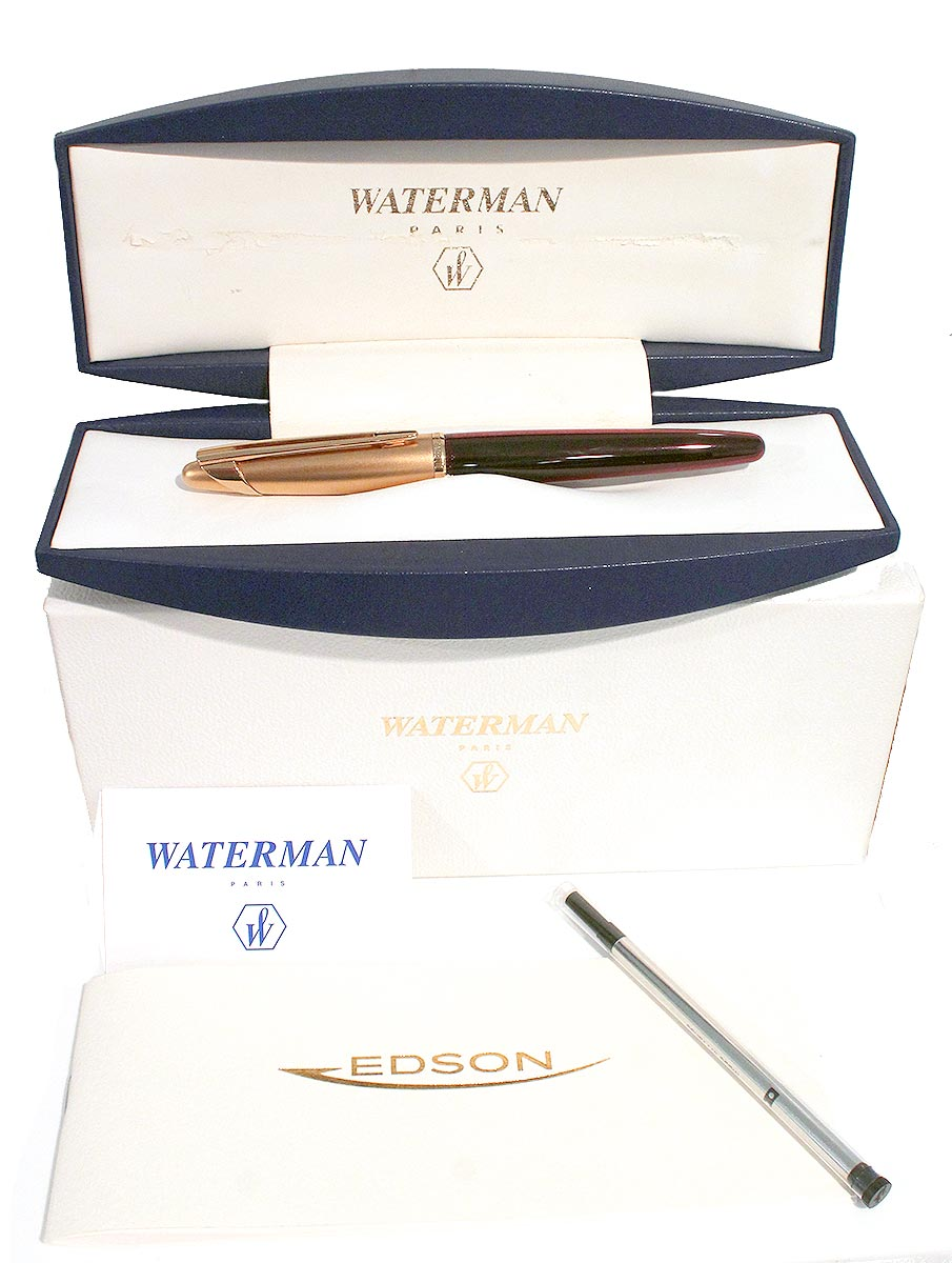 WATERMAN EDSON ROLLERBALL PEN RUBY RED MINT NEW OLD STOCK WITH BOX AND PAPERS OFFERED BY ANTIQUE DIGGER