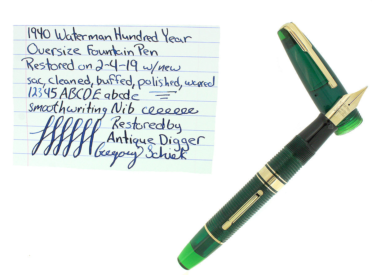 1940 TRANSPARENT GREEN WATERMAN 100 YEAR OVERSIZE FOUNTAIN PEN XF-B SEMI-FLEX NIB RESTORED OFFERED BY ANTIQUE DIGGER OFFERED BY ANTIQUE DIGGER
