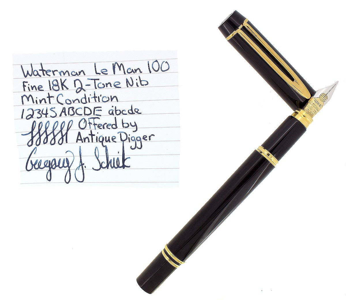 WATERMAN IDEAL LE MAN 100 FOUNTAIN PEN FINE GLOBE NIB MINT IN BOX OFFERED BY ANTIQUE DIGGER