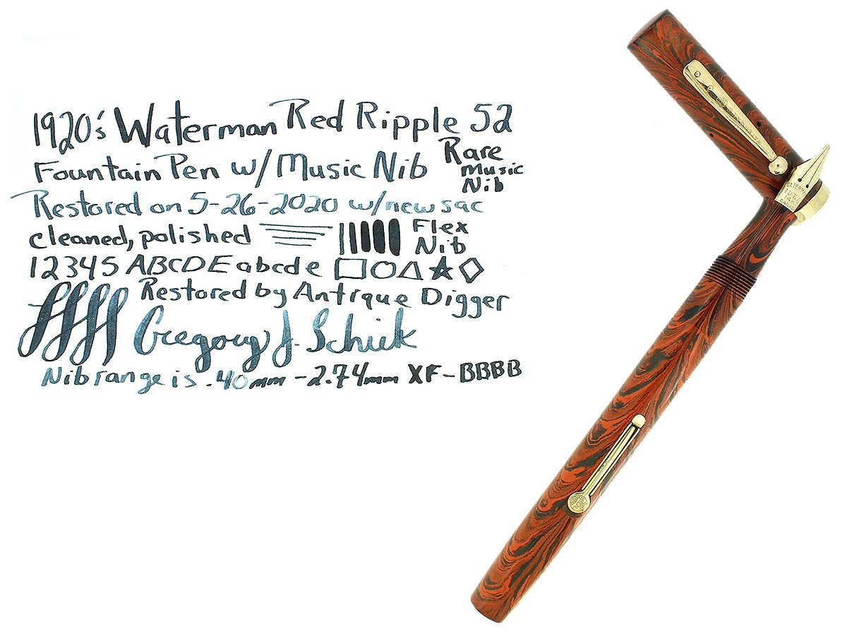1920S WATERMAN #52 RED RIPPLE FOUNTAIN PEN XF-BBBB FLEX RARE MUSIC NIB RESTORED OFFERED BY ANTIQUE DIGGER
