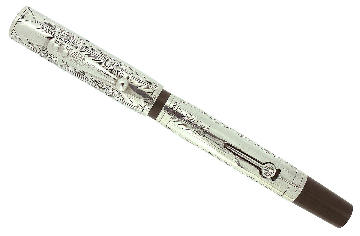 1920s WATERMAN 452 STERLING PANSY PANEL FOUNTAIN PEN F - BBB FLEX NIB RESTORED OFFERED BY ANTIQUE DIGGER