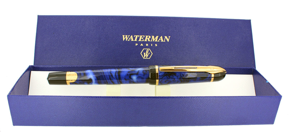 1990S WATERMAN PHILEAS BLUE MARBLE GOLD TRIM FOUNTAIN PEN NEW IN BOX NEVER INKED OFFERED BY ANTIQUE DIGGER
