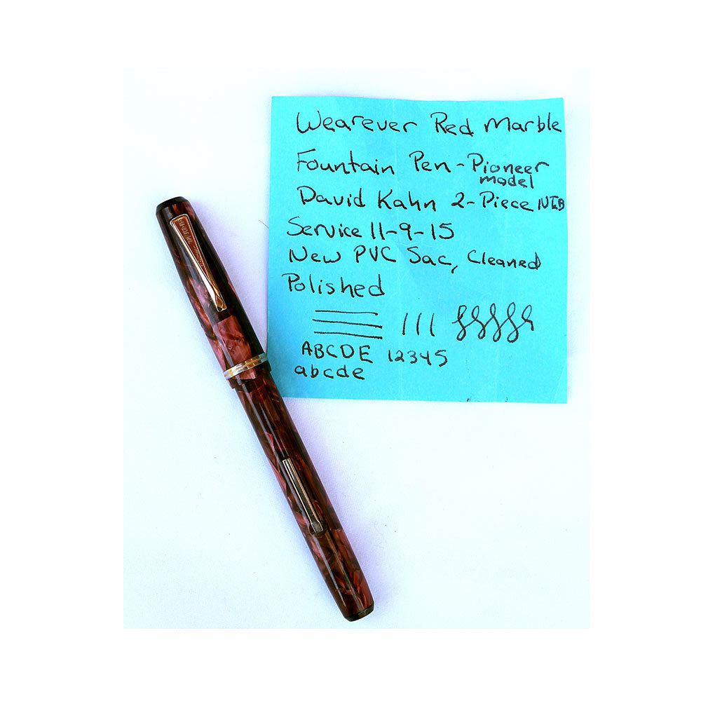 Wearever Fountain Pen with David Kahn Two Piece NIB in Red Marble Celluloid