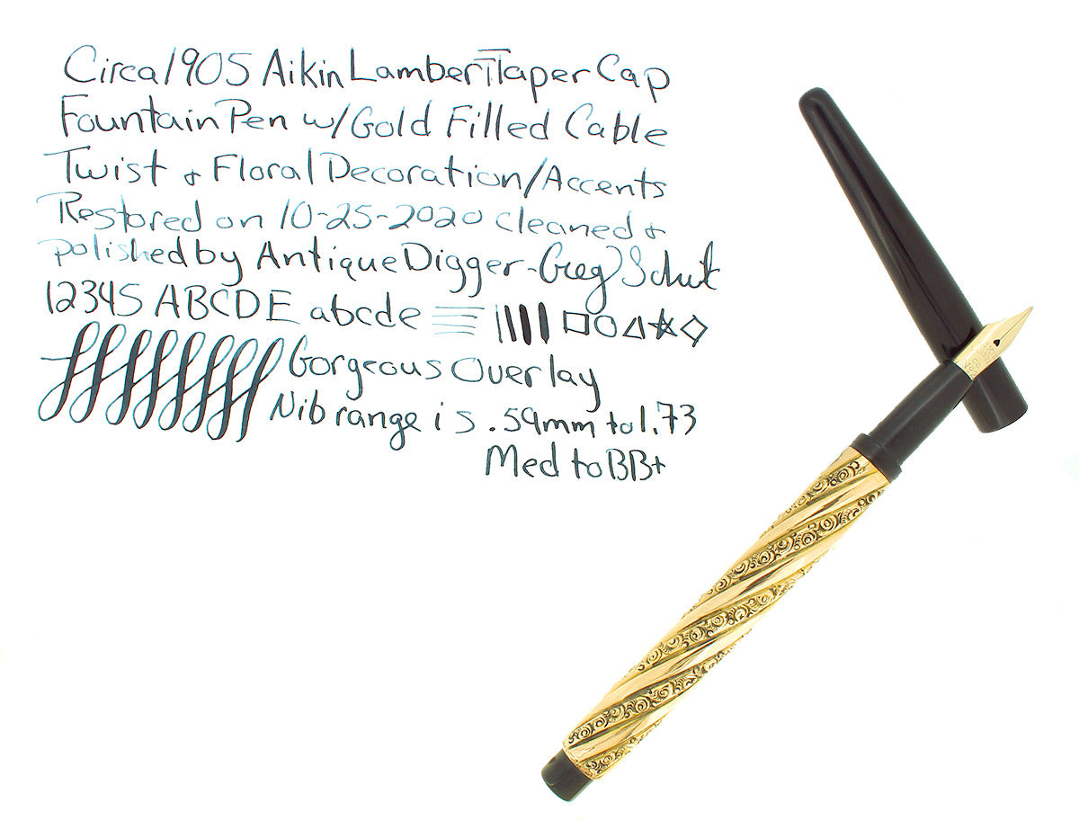 C1905 AIKIN LAMBERT TAPER CAP CABLE TWIST W/ SNAIL PATTERN FOUNTAIN PEN RESTORED OFFERED BY ANTIQUE DIGGER