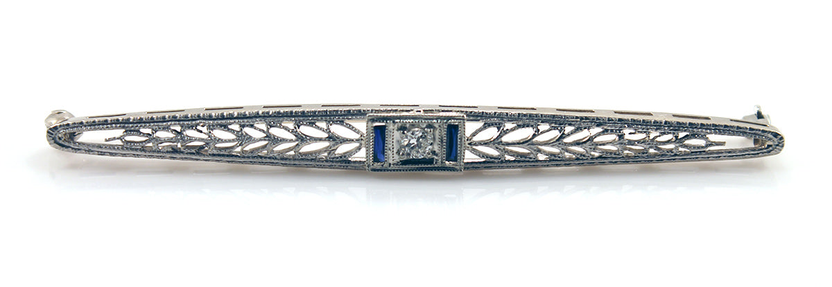 VICTORIAN  14K WHITE GOLD & PLATINUM TOP DIAMOND SAPPHIRE FILIGREE BAR PIN OFFERED BY ANTIQUE DIGGER