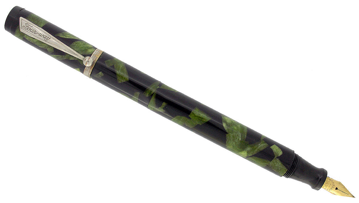 CIRCA 1933 FOUR WAY FOUNTAIN PEN GREEN BLACK MARBLED CELLULOID 2 NIBS SCARCE RESTORED OFFERED BY ANTIQUE DIGGER