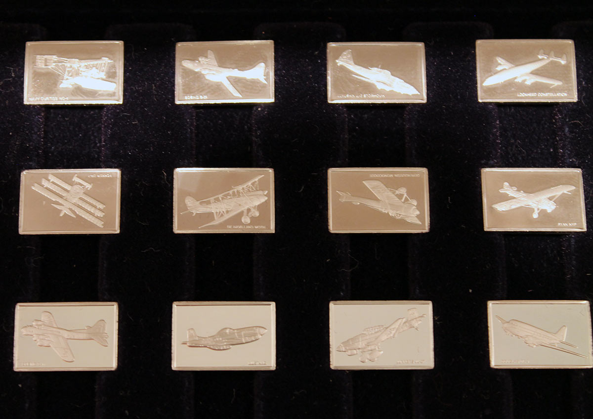 1978 STERLING SILVER FRANKLIN MINT GREAT AIRPLANES 50 MINIATURES SET WITH PRESENTATION CASE OFFERED BY ANTIQUE DIGGER
