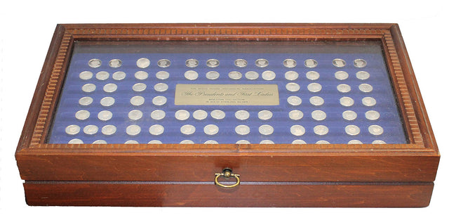 1977 STERLING SILVER FRANKLIN MINT PRESIDENTS FIRST LADIES 80 COIN SET WITH WOODEN PRESENTATION DISPLAY OFFERED BY ANTIQUE DIGGER