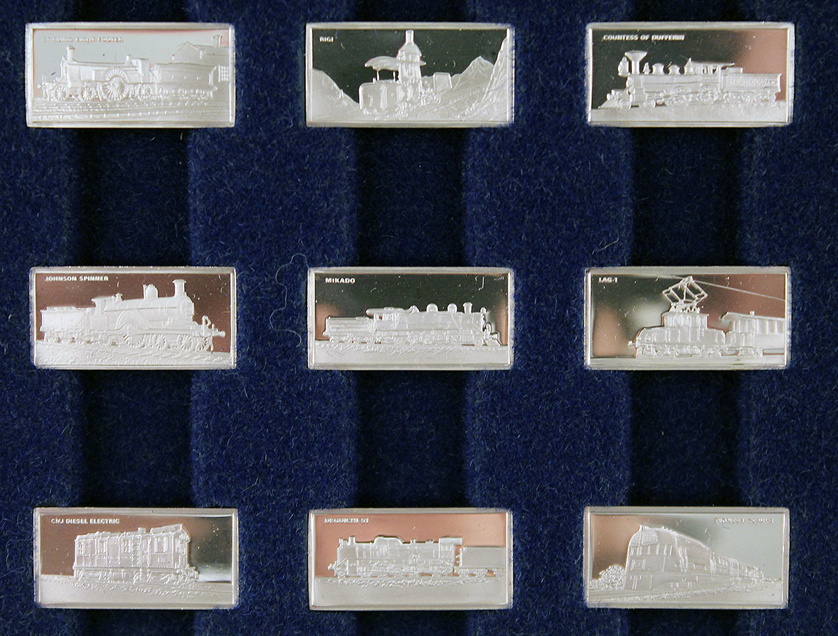 STERLING SILVER FRANKLIN MINT INTERNATIONAL LOCOMOTIVE 50 INGOT COLLECTION OFFERED BY ANTIQUE DIGGER