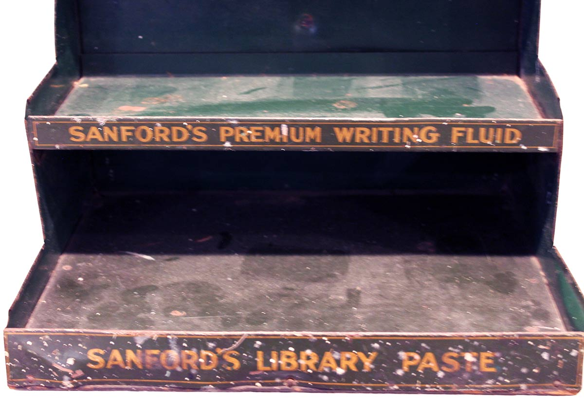 SCARCE CIRCA 1920s SANFORD'S FOUNTAIN PEN INKS 3 TIERED ADVERTISING STORE DISPLAY OFFERED BY ANTIQUE DIGGER