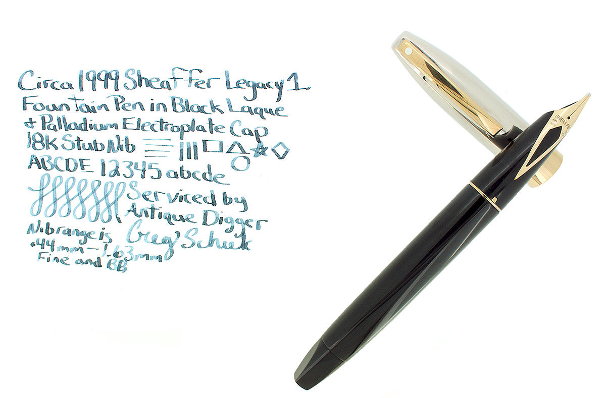 CIRCA 1999 SHEAFFER LEGACY BLACK LAQUE FOUNTAIN PEN 18K STUB NIB PALLADIUM CAP OFFERED BY ANTIQUE DIGGER
