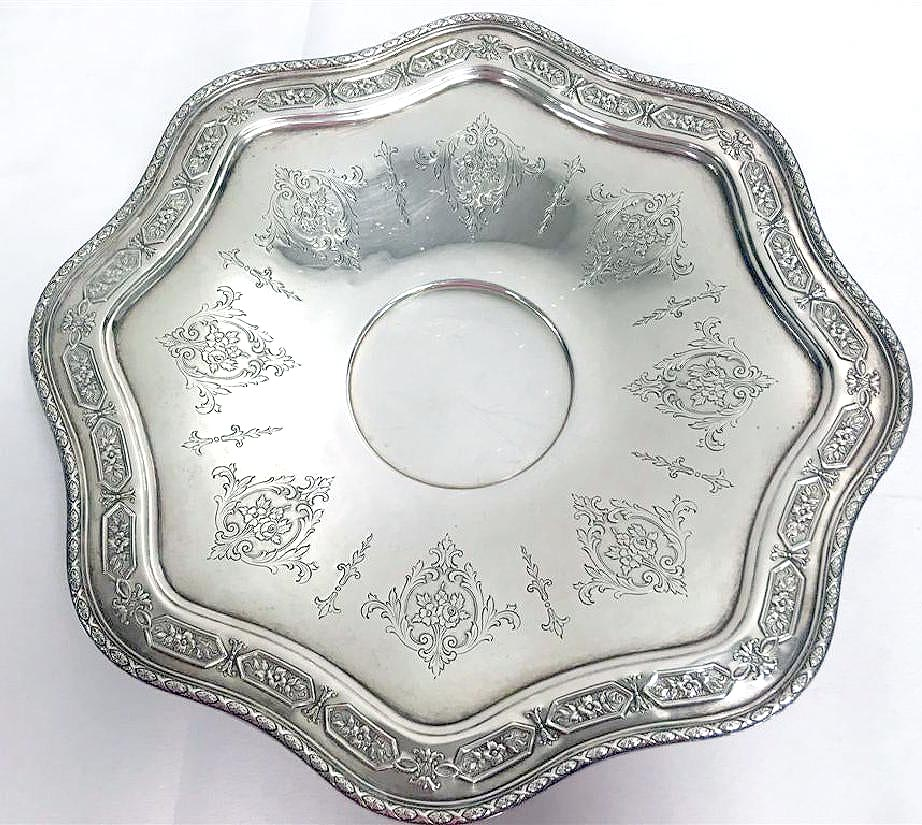 1924 TOWLE STERLING SILVER LOUIS XIV SCALLOPED EDGE FOOTED CENTERPIECE PLATE OFFERED BY ANTIQUE DIGGER