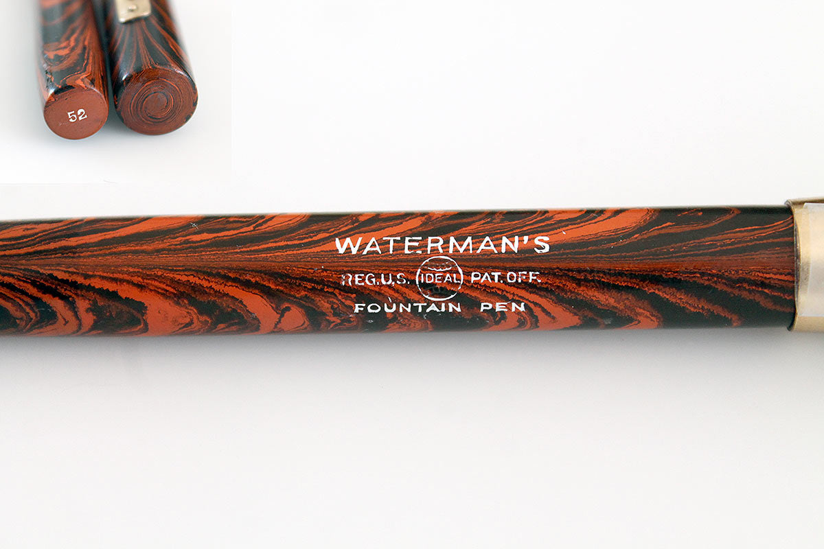 RESTORED 1920s WATERMAN'S 52 RED RIPPLE FOUNTAIN PEN